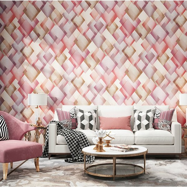 Modern New Fashion Geometric Abstract Lattice Wall Paper Pink Green Purple  Gold Non Woven Color Design Wallpaper Bedroom Decor Aishwarya Rai ...