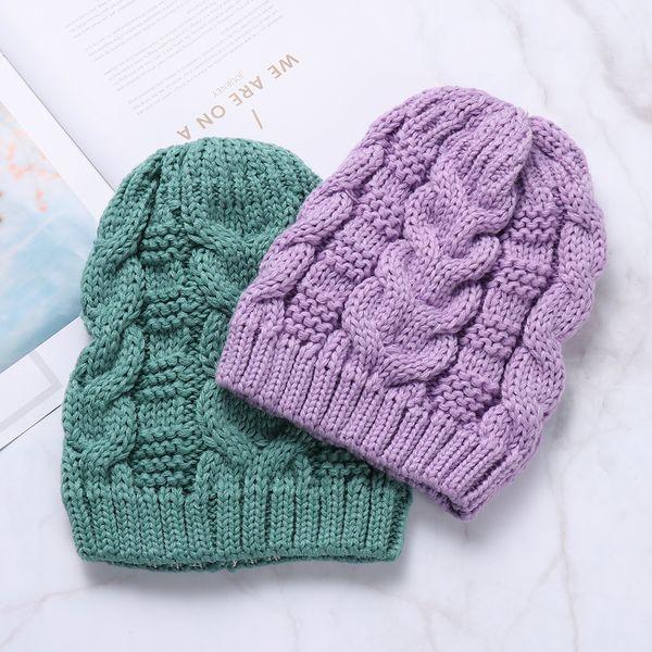 Solid Color Women's Fashion Winter Thick Twist Thread Knit Crochet Hat Female Warm Baggy Beanie Ski Skull Girl Cap Drop shipping