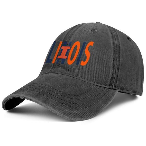 Womens Mens Washed Cap Hat Plain Adjustable Illinois Fighting Illini Basketball wordmark logo Hip-Hop Cotton Strapback Hat Summer Travel Hat