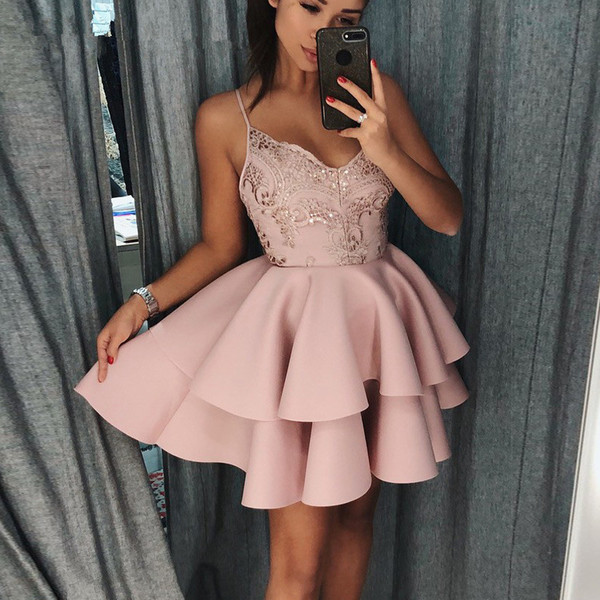 Sexy Satin V Neck Homecoming Dress 2019 Spaghetti Straps Sequined Short  Formal Prom Dresses Backless Vestidos De Graduacion Gown Dresses Sale  Formal