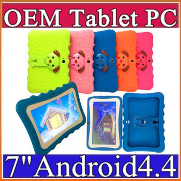 Kinder Marke Tablet PC 7in Quad Core Kinder Tablet Android 4.4 Allwinner A33 Google Player Wifi Große Lautsprecher Schutzhülle L-7PB Quad Core