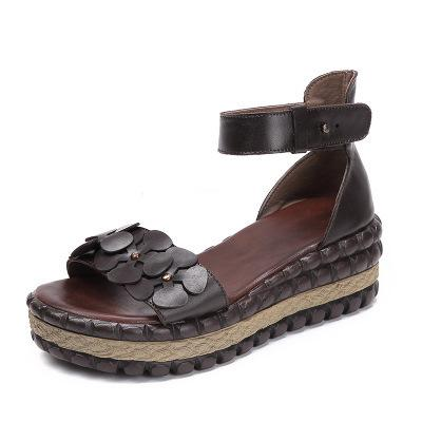 2019 Summer New Genuine Leather Sandals Flowers Open-toed Leisure Women's Shoes Waterproof Taiwan Roman Sandal