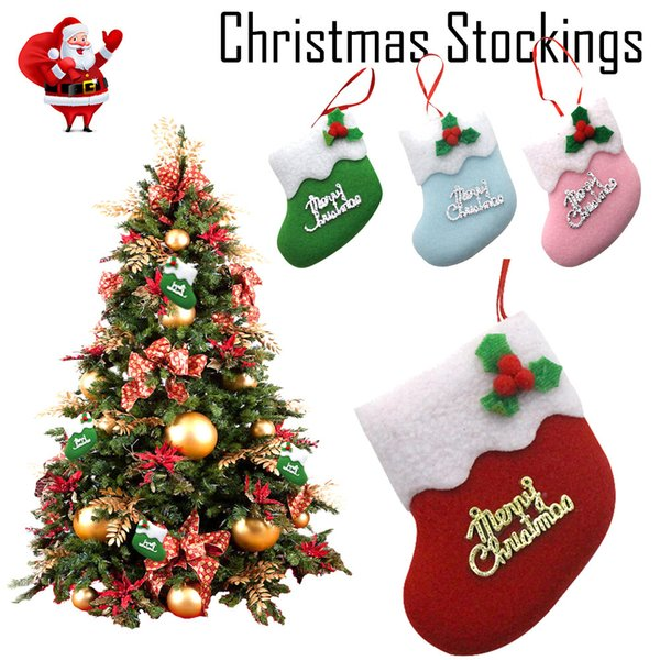 Merry Christmas Stocking Mini Sock Santa Claus Candy Gift Bag Xmas Tree Hanging ornaments decor for the New year 2019 HOT