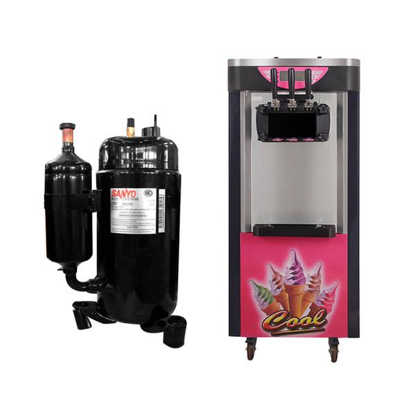 Macchina per gelato verticale Macchina per gelato morbida 220V Uso commerciale 3 teste Uscita di produzione 26L / H