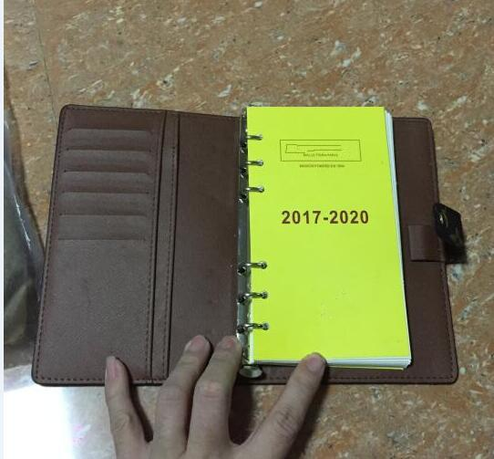 Famous Brand Agenda Luxury Note BOOK Cover Leather Diary Leather with dustbag and box card Note books Hot Sale Style silver ring
