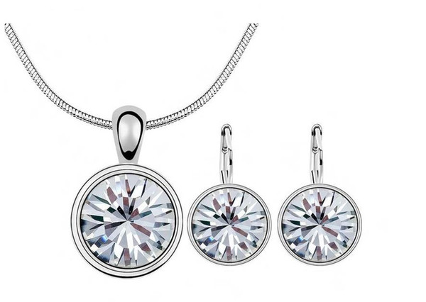 Hot Sales 18K Platinum Plated Fashion Costume Women Jewelry Sets Genuine Austrian Crystal Round Pendant Necklace Earrings for women