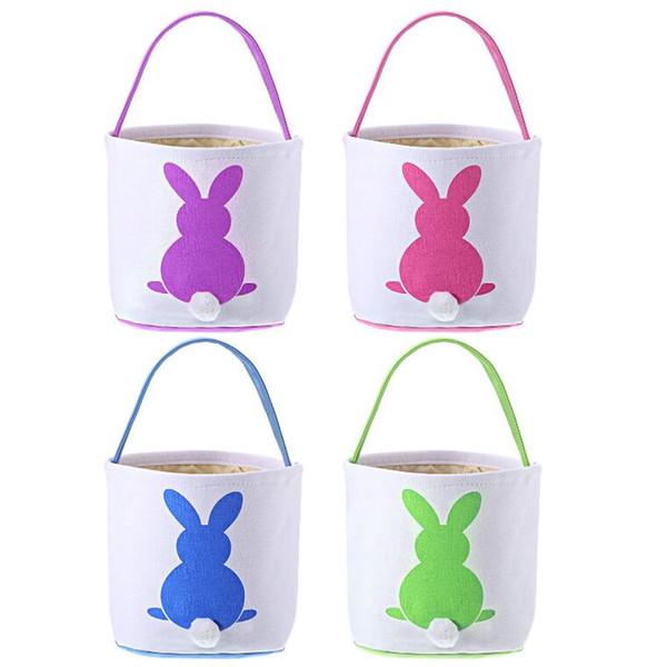 Paskalya Tavşanı Çanta 8 Renkler Paskalya Tavşan Sepet Yaratıcı Tavşan Baskılı Kanvas Tote Yumurta Şeker Sepetleri Kutu Açık Çanta CCA11934 24pcs