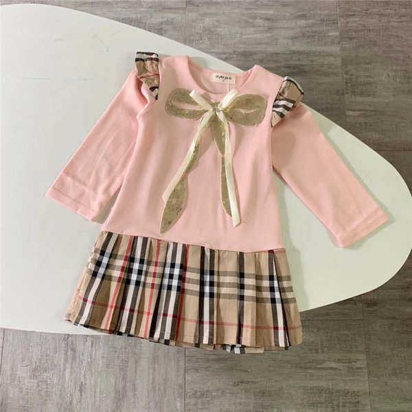 19 foreign trade Europe and the United States children's clothing girls stitching lattice skirt female baby foreign plaid skirt bow long-sle