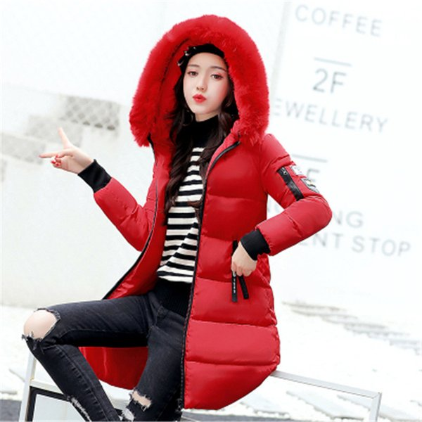 winter women jacket coat mujer fur collar hood decorations at doors, gates, columns park womens long jacket warm chaqueta st157