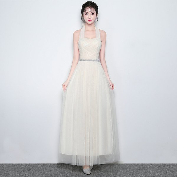 In Stock Long Convertible Sash Bridesmaid Dresses for Girls Weddings Party Girls Prom Cocktail Mesh Champagne Evening Dresses Plus Size