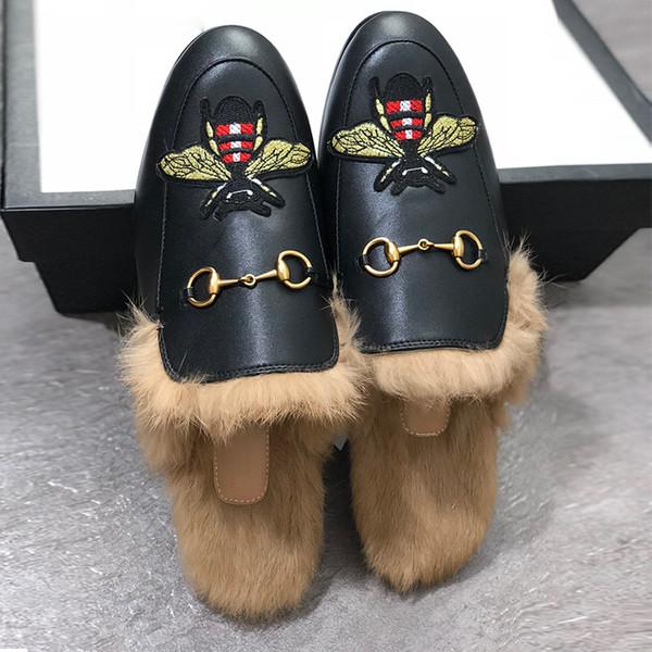 Marka Tasarımcısı Katır Flats Kürk Terlik Tasarımcı Princetown Moda Zincir bayanlar Rahat Ayakkabılar Kadın Erkek Loafer'lar Muller Terlik Arı Ayakkabı W1