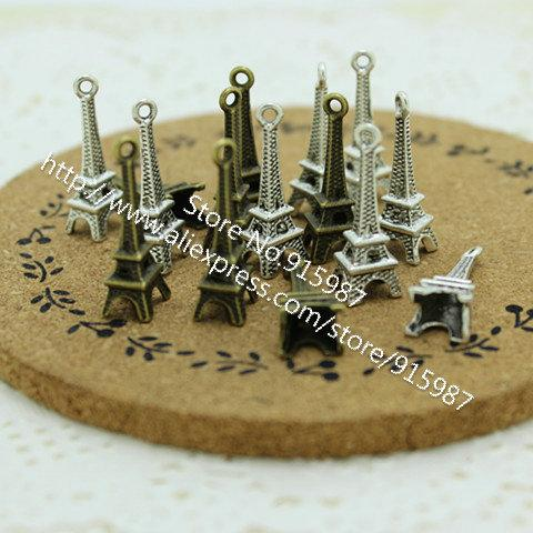 Sweet Bell 200 pieces/lot 8*23mm Two color Antique Metal Alloy 3D Mini Eiffel Tower Charms Pendants Jewelry Making 4B680