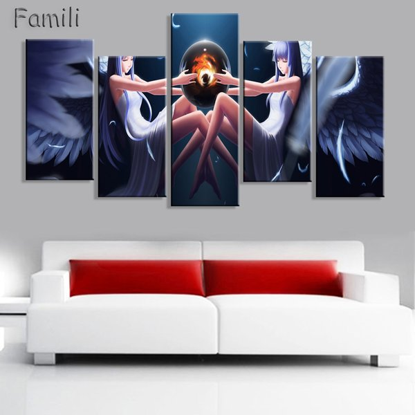 5 Pieces/set large HD printed oil painting Angel Girl canvas print art home decor idea wall art pictures for living room