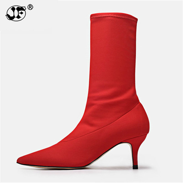 Prova Perfetto Sexy Red Ankle Boots for Women Pointed Toe Elastic High Boots Slip On High Heel Sock Boots Women Pumps Stiletto 9