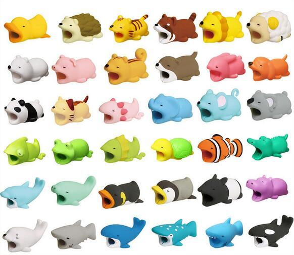 Hot Cable Bite 36styles animal bite cable Protector Accesorio toy cable mordidas dog pig elephant axolotl para iPhone smartphone Cable del cargador