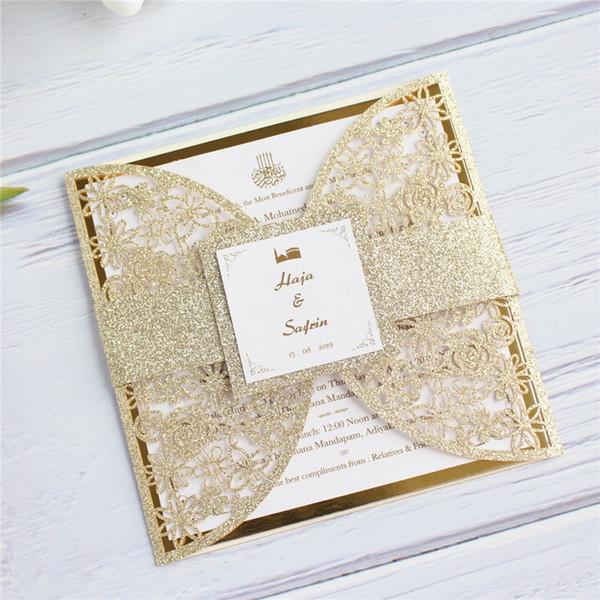invitations de mariage de luxe or floral coupe laser avec prinitng personnalisé conception carte insert réfléchissant or 50pcs
