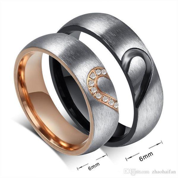 ZHF gioielli paio anelli di amore del cuore di nozze promessa anelli Coppie Set acciaio inossidabile Bande di fidanzamento per gli uomini e la donna