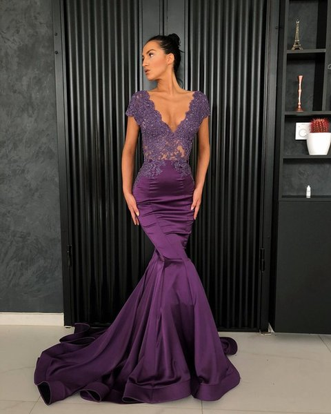 Long Evening Dress 2019 Sexy Mermaid V-neck Cap Sleeve Beaded Lace Nude Back Purple Arabic Style Women Formal Evening Gown