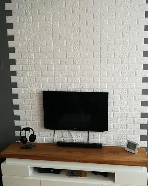 3D DIY Decor Home Brick Wall Stickers Living Room Waterproof Foam Room Adhesive Wallpaper Art 60*60cm Made Decals For Kitchen