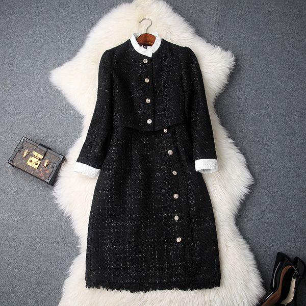 Abiti da ufficio Office Lady Autunno Inverno Collo a contrasto Collo in piedi Giacca corta + Vestito a maglia a vita alta Tweed A due pezzi