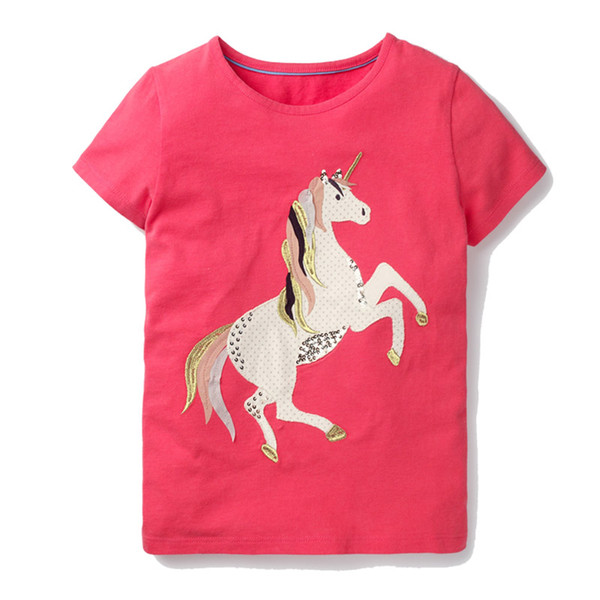 Baby Girls Tshirts with Unicorn Animals Appliqued Short Sleeve Summer Kids Tops 100% Cotton Baby Clothing 2-7T