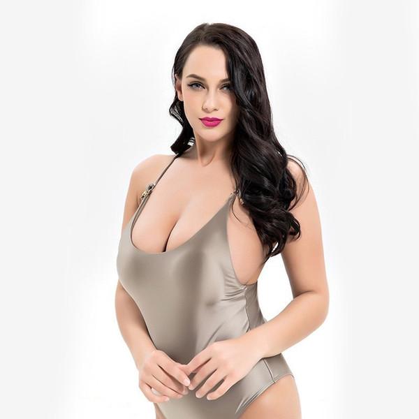 Parlak Mayo Kadınlar Push Up Mayo Tek Parça Fiş Boyutu Mayo Katı Beachwear Büyük kadın Bodysuit Yüzme 6XL Tankini