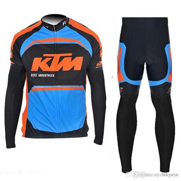 KTM team Cycling long Sleeves jersey (bib) pants sets thin Ropa Ciclismo Quick Dry Mtb Bicycle Gel Pad Wear C1406