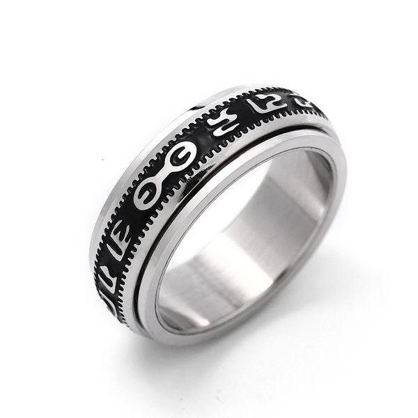 316l Titanium Вращающийся Blessing кольцо, никогда не увядает может вращаться Сила Удачный «Ом Мани Падме Хум» санскрит буддийская мантра Ring