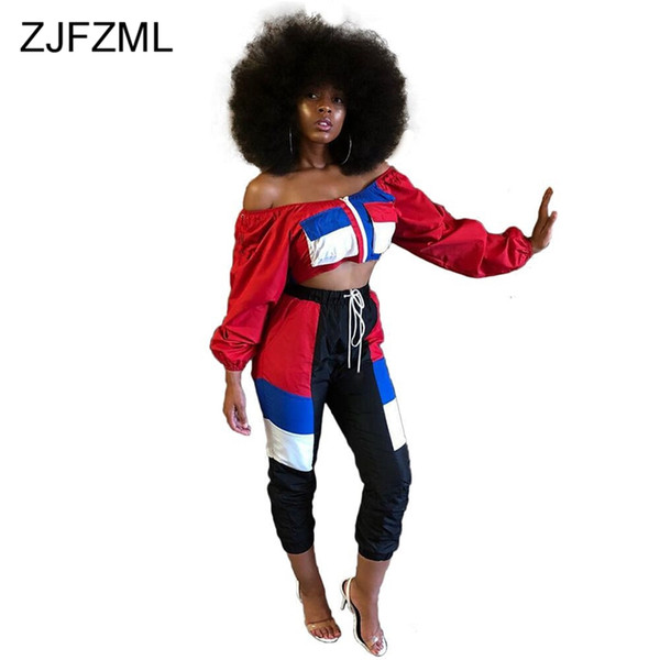 ZJFZML Casual Two Piece Set Women Off The Shoulder Full Sleeve Crop Top And Mid-Claf Pant Autumn Outfits Streetwear 2 Piece Sets