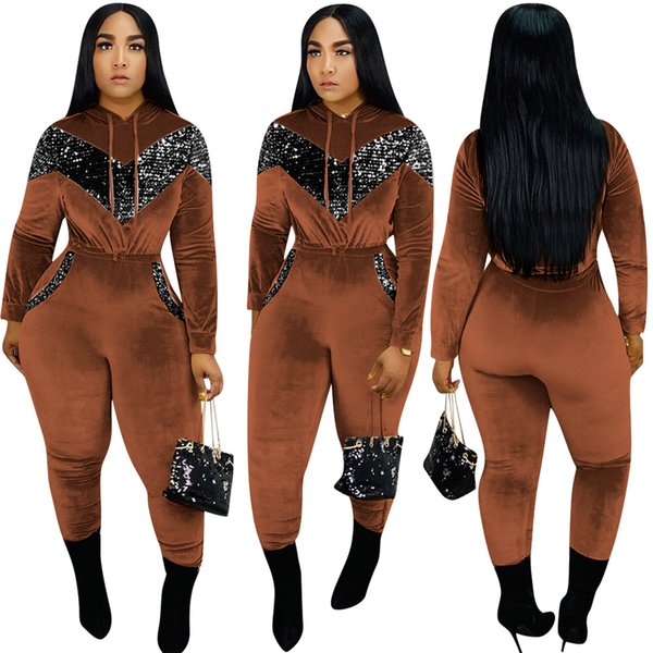 Qualità velluto spessore Donne Tute alti Autunno Inverno paillettes con cappuccio a maniche lunghe Felpa Real Photo Pantaloni dell'inverno