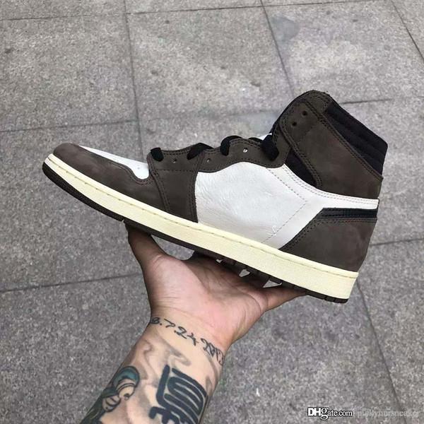 Nike air jordan 1 x Travis Scott Erkek Basketbol Ayakkabı Sneakers 1 1 s Süet Kahverengi Erkekler Boy Athentic Spor Tasarımcısı Eğitmenler Koşu Ayakkabıları Ile kutu