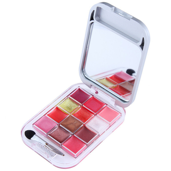 Eyeshadow 12 Color Cosmetic Make Up Palette With Lip Gloss Brillant Eyeshadow Brush Mirror(4#)