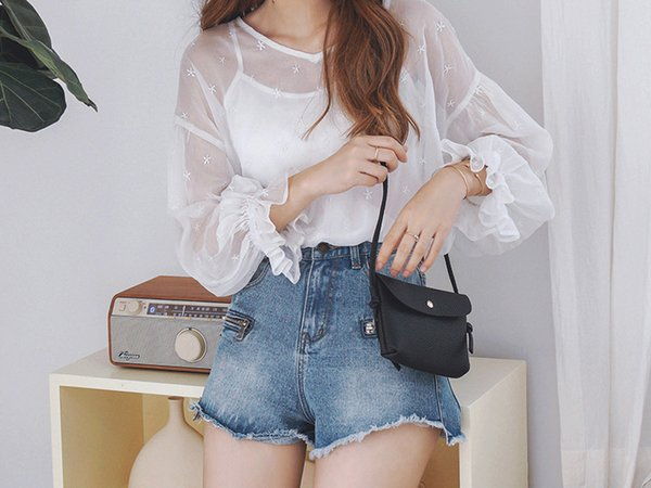 Star embroidered chiffon blouse/blouse for lady xia two-piece/fringed fringed denim shorts/separate shot