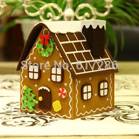 Spedizione gratuita! 1pc Christmas Gingerbread House Felt Brown House Candy Bag Decorazione regalo di Natale SH190709