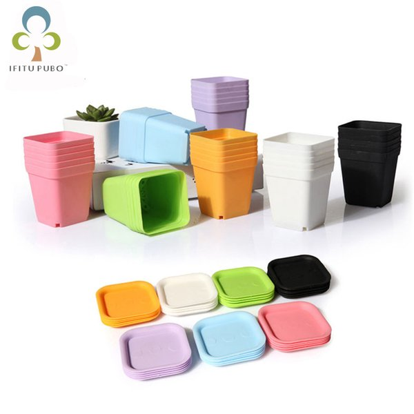 10pcs Mini Square Plastic Flower Pot Home Office Decor Planter Colorful With Pots Trays Green Plant Artificial Wyq C19041901