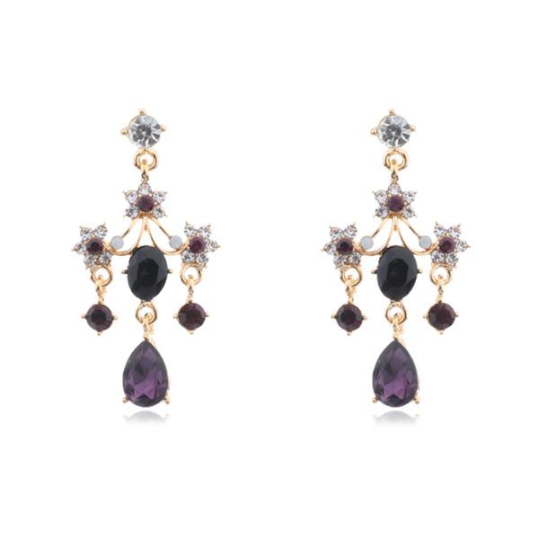 Korean Vintage Women Crystal Water Drop Earrings Full Shiny Rhinestone Geometric Long Pendientes Girl Party Ear Jewelry Gift