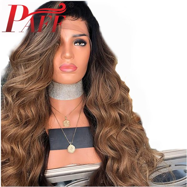 PAFF Ombre 1b/27 Color Body Wave Lace Front Human Hair Wigs Side Part Brazilian Remy Hair 13*3 Wig With Baby Hair