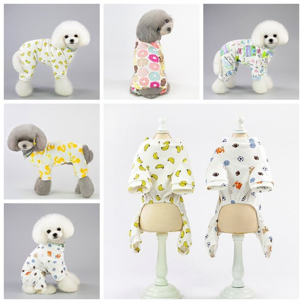 Dog Clothes Jumpsuit Puppy Cat Clothing Small Dog Outfits Pet Costume Supplies Banana Dounot Duck Printed 5 Designs Optional YW2821
