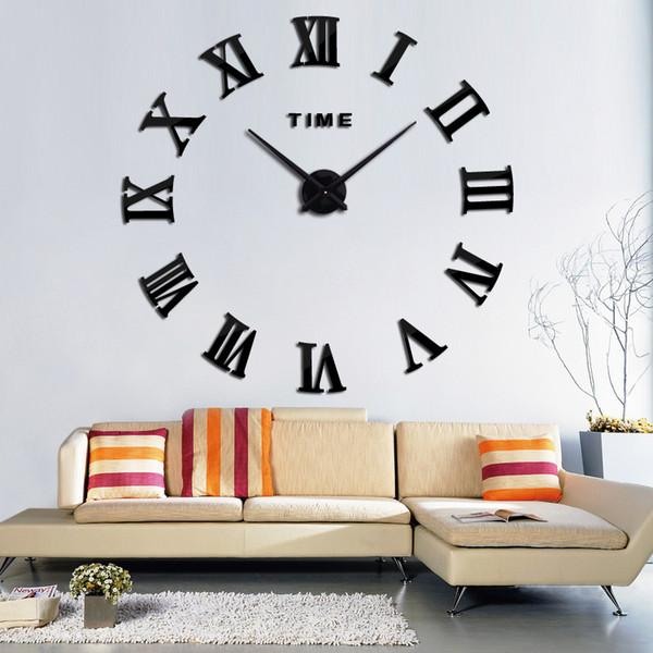47 inç Promosyon Yeni Ev Dekor Büyük Roma Ayna Moda Modern Kuvars Saatler Oturma Odası DIY Duvar Saati Sticker İzle