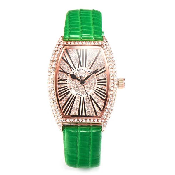 Vendite calde Roman luxury watch Donna nuovo orologio in pelle con diamanti in acciaio da polso Orologio da polso al quarzo nobile tavolo femminile