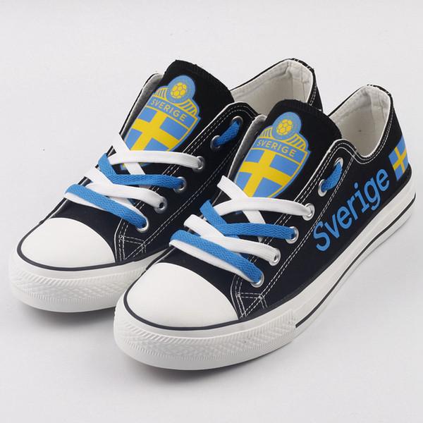 Low Top Design Sverige Fans Canvas Walk Shoes Swedish Men Casual Flat Shoes Custom Sweden Tenis Espadrilles Zapatos Deportiva