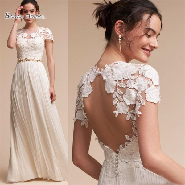 2019 Cap Sleeves A-line Wedding Dresses Backless Chiffon Summer Beach Boho Bridal Gowns Floor Length Key Hole Backless