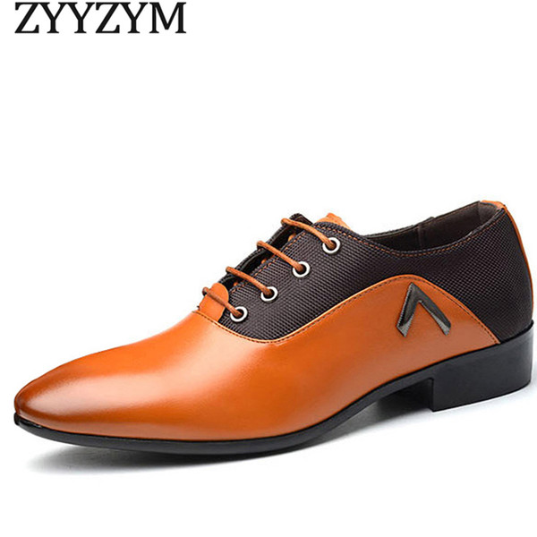 ZYYZYM Men Formal Shoes Business Dress Basic Shoes Fashion Leather Cloth Design elegante Scarpe belle uomo Big Size 38-47