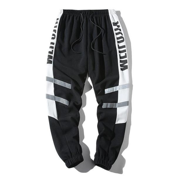 HTLB Hommes Color Block Patchwork mince Joggers sarouel Hommes 2019 Harajuku Hip Hop Casual Male Pantalon élastique Streetwear Pantalon Y200116