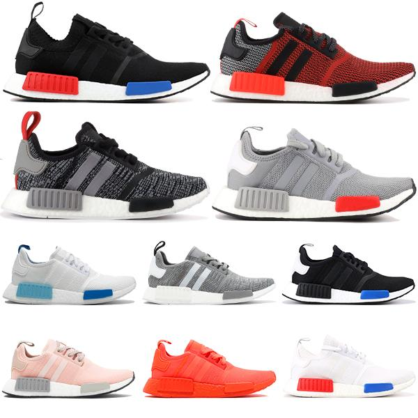 best selling 2020 NMD R1 core black lush red running shoes men women black monochrome Blanch Blue triple black white fashion stylist men sneakers 36-45
