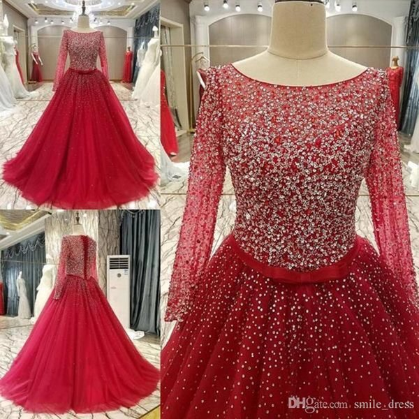 Bling Bling Red Ball Gown Evening Dresses Long Sleeves Scoop Lace Up Tulle With Sash Formal Prom Party Gowns SE217