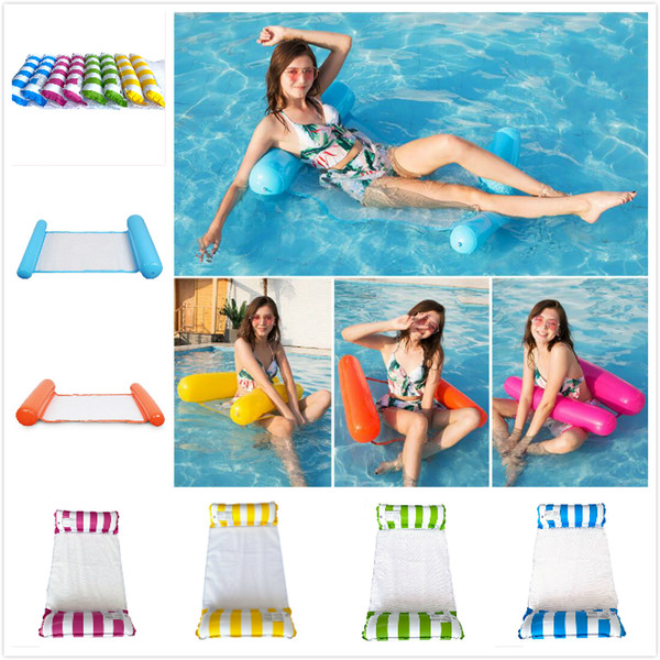 best selling Fashion Inflatable Floating Water Hammock Lounge Bed Chair Summer Inflatable Pool Float Swimming Pool Inflatable Bed Beach Playing Tool