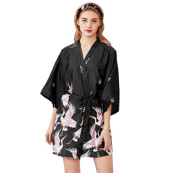 854919fff66626 Compre Mulheres De Cetim De Seda Curto Da Noiva Do Casamento Dama De Honra  Robe Kimono Robe Feminino Banho Tamanho Grande Peignoir Femme Sexy Roupão  ...
