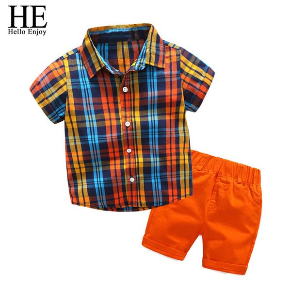 He Hello Enjoy Children Clothing Boys Summer Clothes 2019 Short Sleeve Plaid Shirt+shorts Suit Kids Clothing Set 3 4 5 6 7 8year J190508