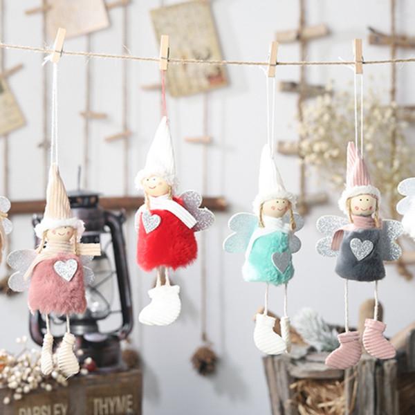 Noel Natale Angelo Ragazza Ragazzo Sci Bambole di peluche Albero di Natale Ornamento Ciondolo Decorazione per feste per la casa 2019 Anno nuovo